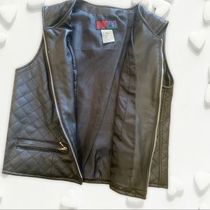 Large Black BB Dakota Mot Faux Leather Vest